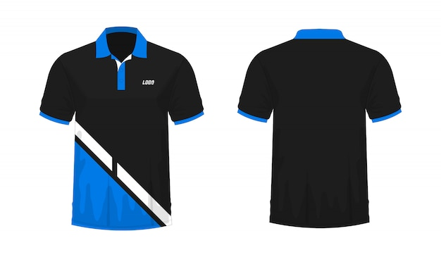 T-shirt polo blauw en zwart t illustratie Premium Vector