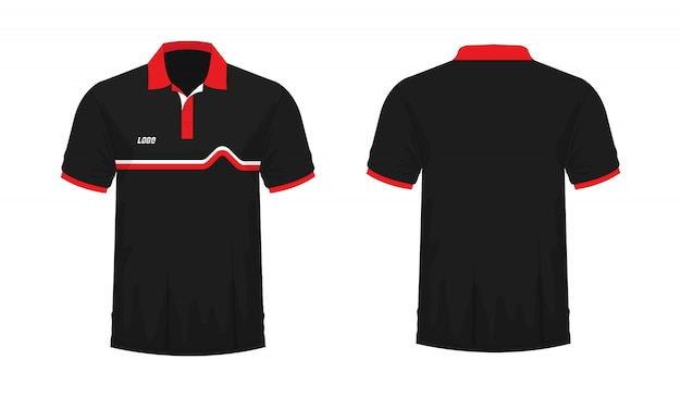T-shirt polo rood en zwart t illustratie Premium Vector