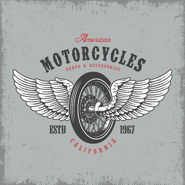 T-shirt print met wiel en vleugels op lichte achtergrond en grunge textuur Gratis Vector