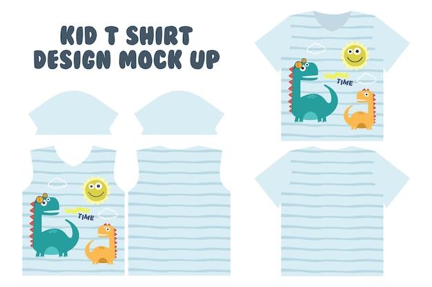 T-shirt print ontwerp, voorkant en achterkant t-shirt mock-up ontwerp, schattige zomertijd spelen van dino Premium Vector
