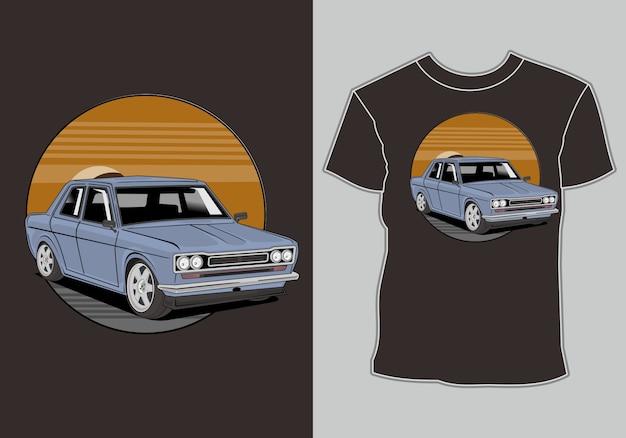 T-shirt, retro vintage auto illustratie Premium Vector