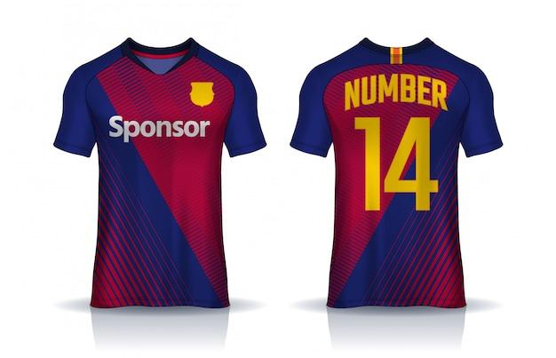 T-shirt sport ontwerpsjabloon, uniform voor- en achteraanzicht. Premium Vector