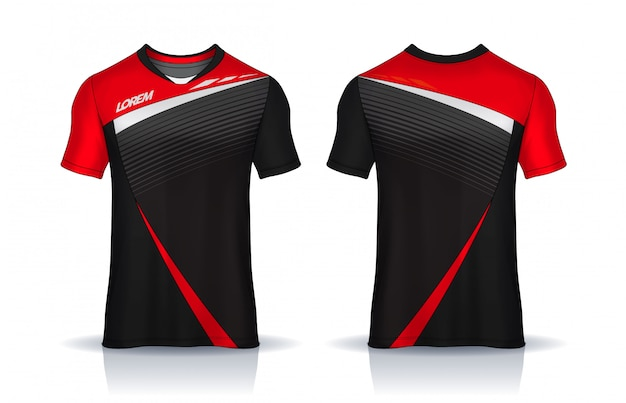 T-shirt sport ontwerpsjabloon, voetbal jersey voor voetbalclub. uniform voor- en achteraanzicht. Premium Vector