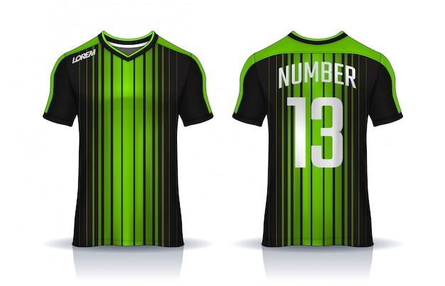 T-shirt sport ontwerpsjabloon, voetbaltrui voor voetbalclub. uniforme voor- en achterkant. Premium Vector