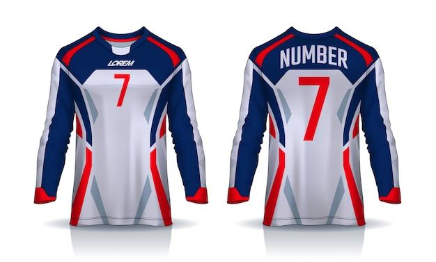 T-shirt sport sjabloon, voetbal shirt met lange mouwen. Premium Vector