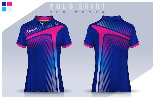 T-shirt sportontwerp voor vrouwen, mockup voor voetbalshirts voor voetbalclub. polo uniform sjabloon. Premium Vector