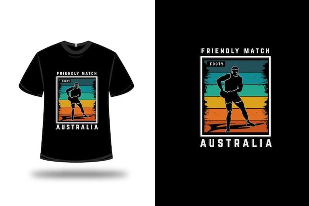 T-shirt vriendschappelijke wedstrijd footy australia kleur oranje geel en groen Premium Vector