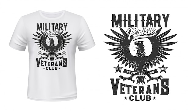 T-shirtmodel met adelaarprint, militaire veteranenclub Premium Vector