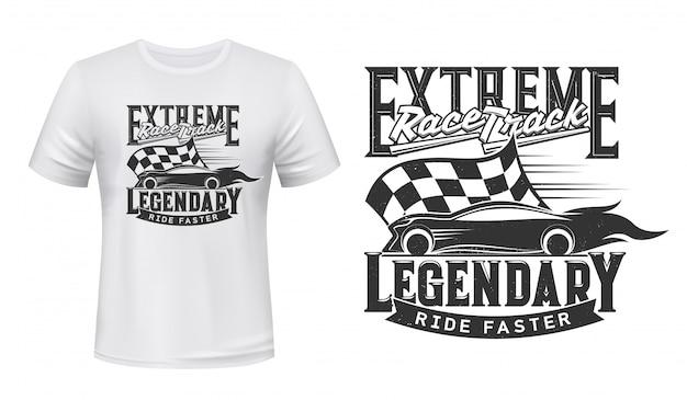 T-shirtontwerp met extreme race Premium Vector