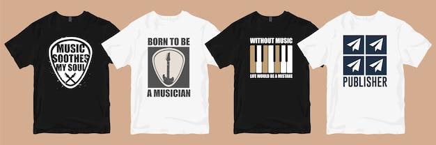 T-shirtontwerpen bundel. muziek t-shirt ontwerpt slogans citeert bundels Premium Vector
