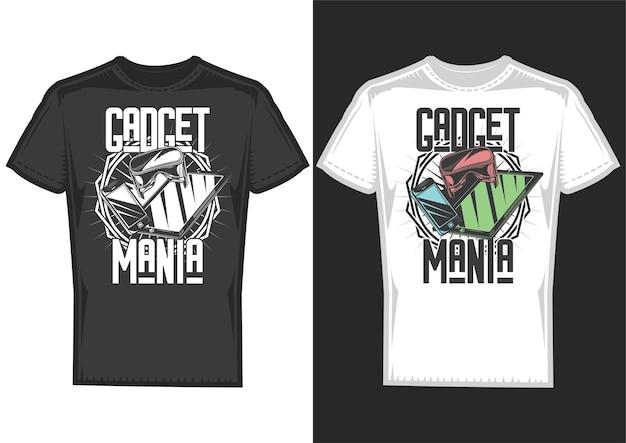 T-shirtontwerpvoorbeelden met illustratie van gadgets. Gratis Vector