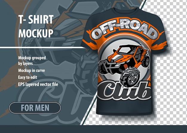 T-shirts met het logo van de utv buggy off-road club Premium Vector