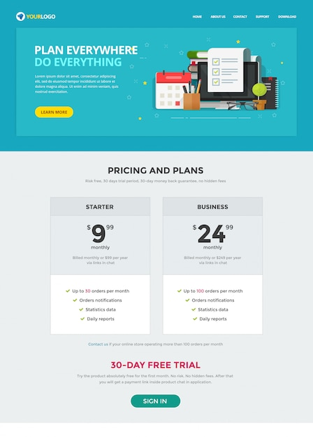 Taak of takenlijst website sjabloonpagina Premium Vector