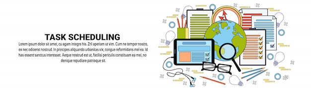Taak scheduling webbanner sjabloon business planning tijd management concept Premium Vector