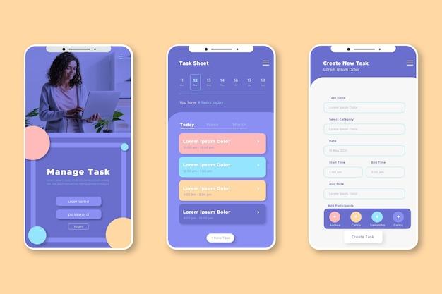 Taakbeheer app-interface Gratis Vector