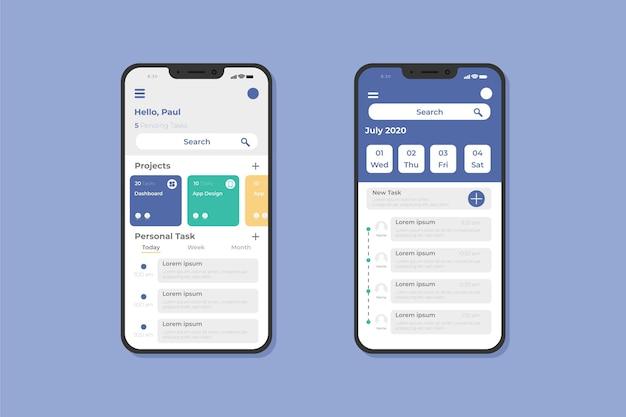 Taakbeheer smartphone app-sjabloon Premium Vector