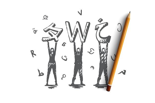Taal, cursussen, engels, studeren, klassenconcept. hand getekend verschillende talen en mensen met letters concept schets. illustratie. Premium Vector