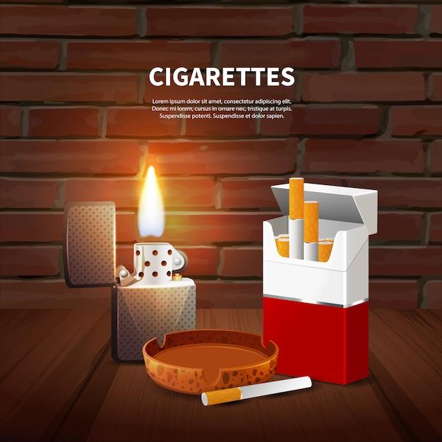 Tabak realistische poster Gratis Vector