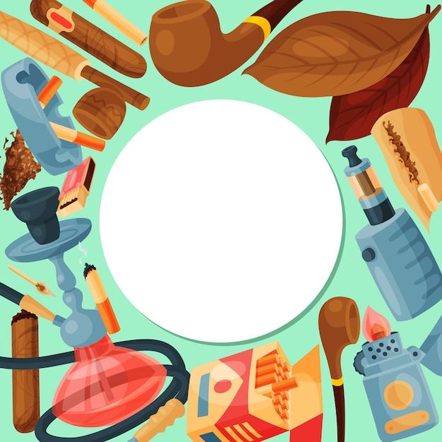 Tabak, sigaar en waterpijp rond. set van waterpijp, sigaren en sigaretten bladeren, pijpen en lucifers is rondom de witte cirkel met plaats voor tekst. collectie rookaccessoires Premium Vector