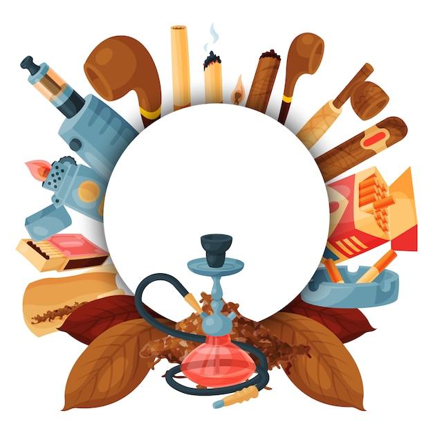 Tabak, sigaar en waterpijp rond. set van waterpijp, sigaretten, bladeren, pijpen en lucifers. sjabloon voor ronde spandoek Premium Vector