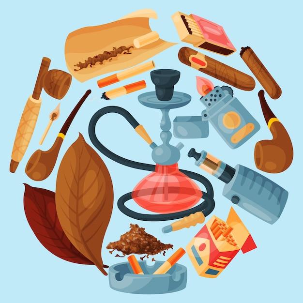 Tabak, sigaar en waterpijp ronde vectorillustratie. sigaren, sigaretten en tabaksbladeren, pijpen, asbak en aanstekers allemaal rond een waterpijp. roken accessoires. Premium Vector