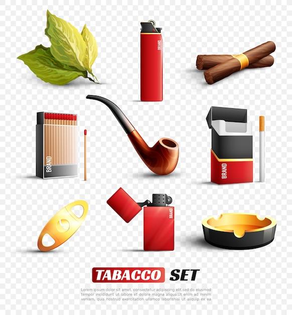 Tabaksproducten ingesteld Gratis Vector