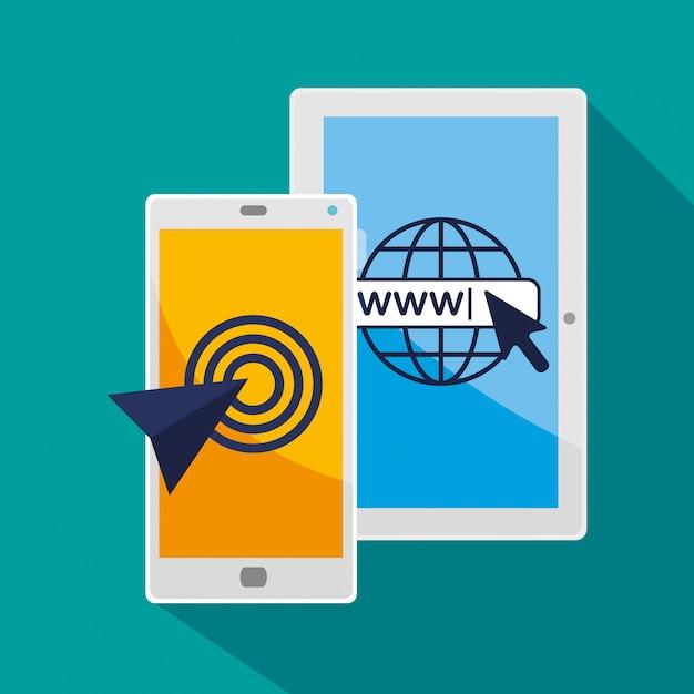 Tablet en smartphone met pijlcursor Gratis Vector