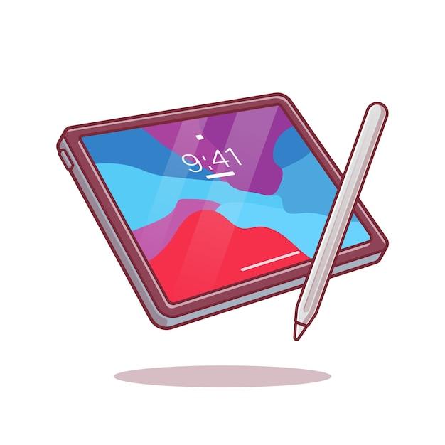 Tablet en stylus potlood cartoon vectorillustratie. Gratis Vector