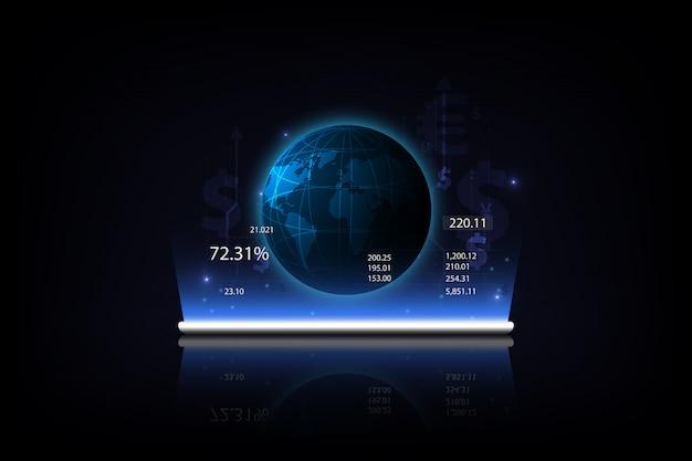 Tablet met een groeiend virtueel hologram van statistieken Premium Vector