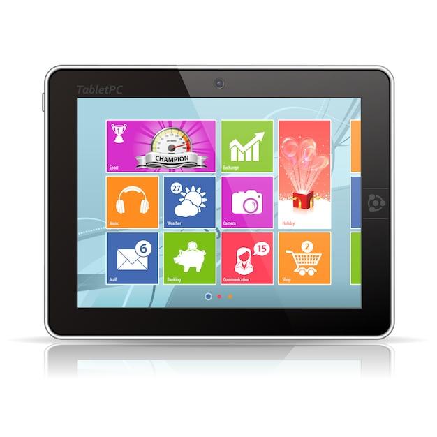Tablet-pc met app dashboard desktop Premium Vector