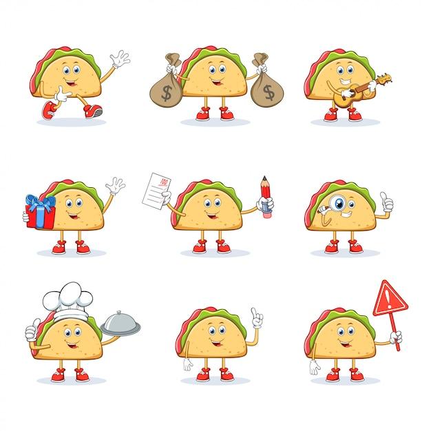 Taco cartoon mascotte tekenset collectie Premium Vector
