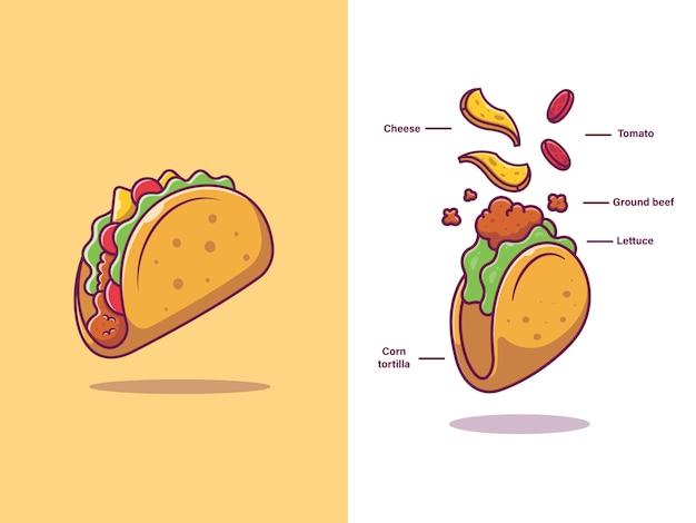 Taco ingrediënten voedsel Premium Vector