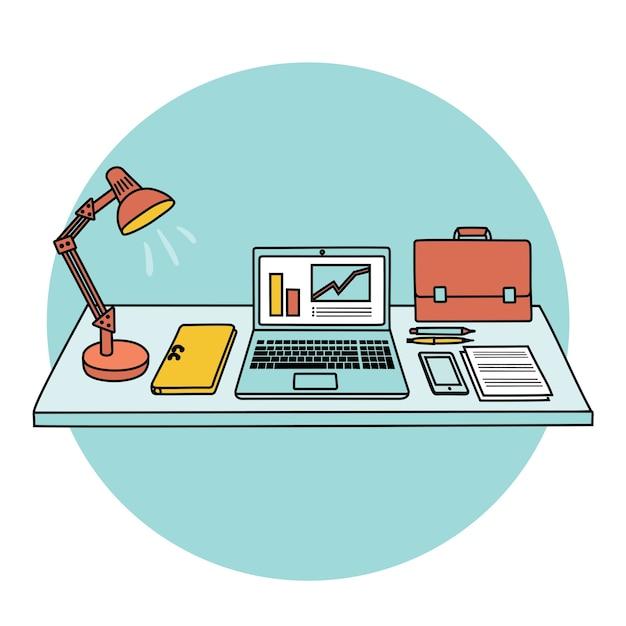 Tafel en kantoorbenodigdheden erop. llustration van tafel, kantoorbenodigdheden, laptoplamp, spullen Premium Vector