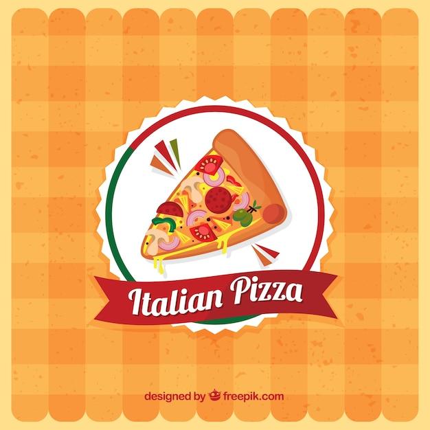 Tafelkleed achtergrond met pizza logo Gratis Vector