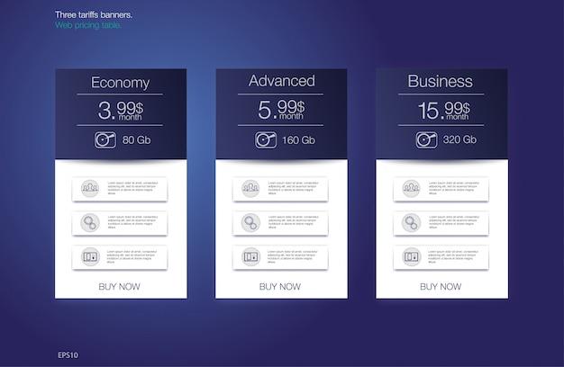 Tafelprijs voor hosting, voor de tarieven en prijslijsten. web-elementen. Premium Vector