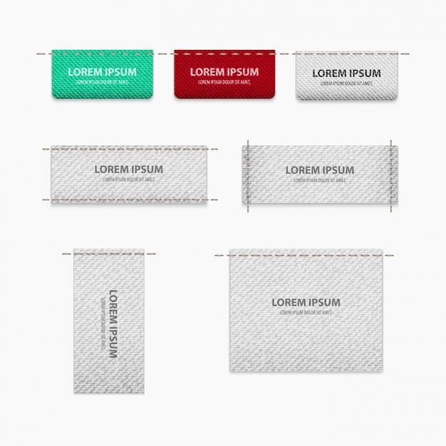 Tagset voor kleding met textuur voor realisme met plaats voor tekst Premium Vector