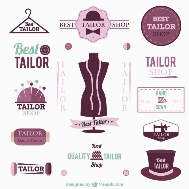 Tailor logo's en badges Gratis Vector