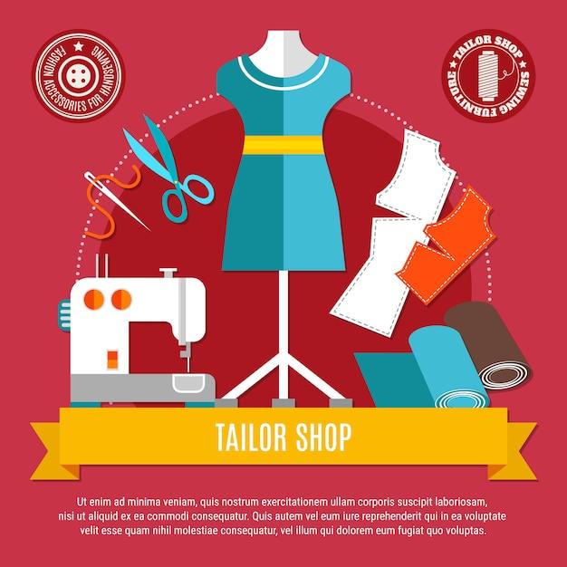 Tailor shop concept illustratie Gratis Vector