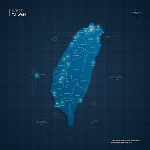 Taiwan kaart met blauwe neonlichtpunten Premium Vector