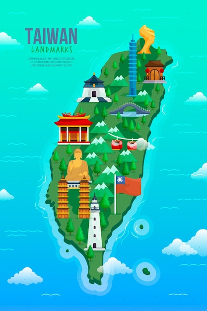 Taiwan kaart met geïllustreerde oriëntatiepunten Gratis Vector