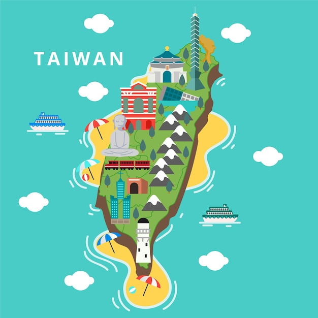 Taiwan kaart met monumenten Premium Vector