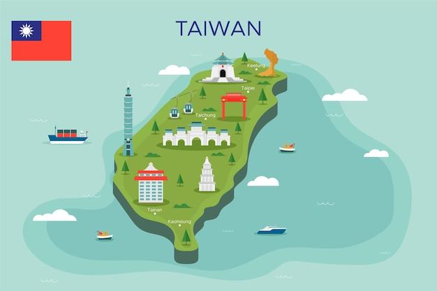 Taiwan kaart met monumenten Gratis Vector