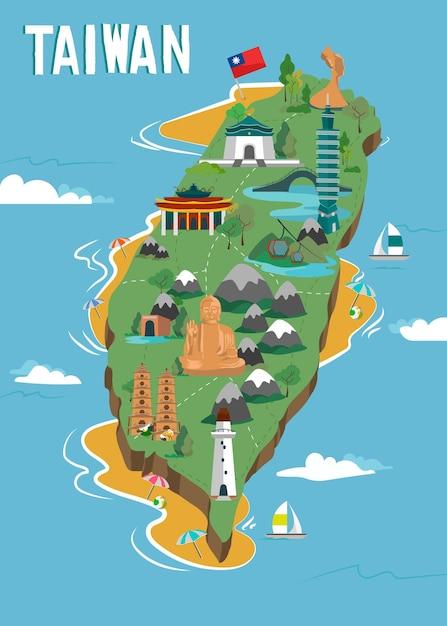 Taiwan kaart met oriëntatiepunten Gratis Vector