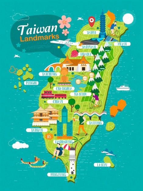 Taiwan oriëntatiepunten reizen kaart Premium Vector