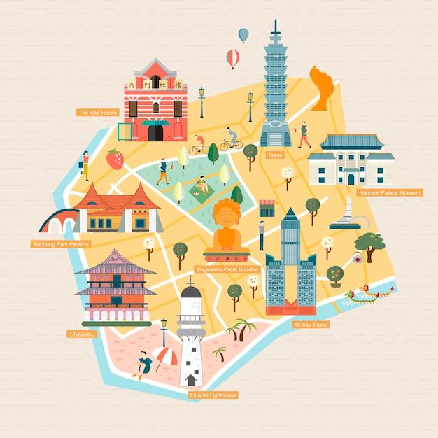 Taiwan reisconcept - oriëntatiepunten stijl Premium Vector