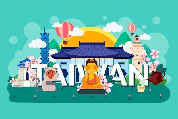 Taiwan woord met kleurrijke monumenten Gratis Vector