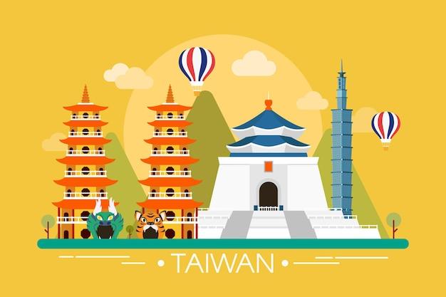 Taiwan woord met oriëntatiepunten Gratis Vector