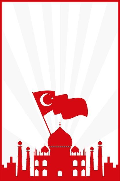 Taj mahal met ontwerp van de de vlagland het geïsoleerde vectorillustratie van turkije Premium Vector