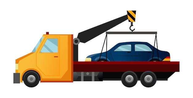 Takelwagen. coole platte sleepwagen met kapotte auto. auto reparatie assistentie auto Premium Vector