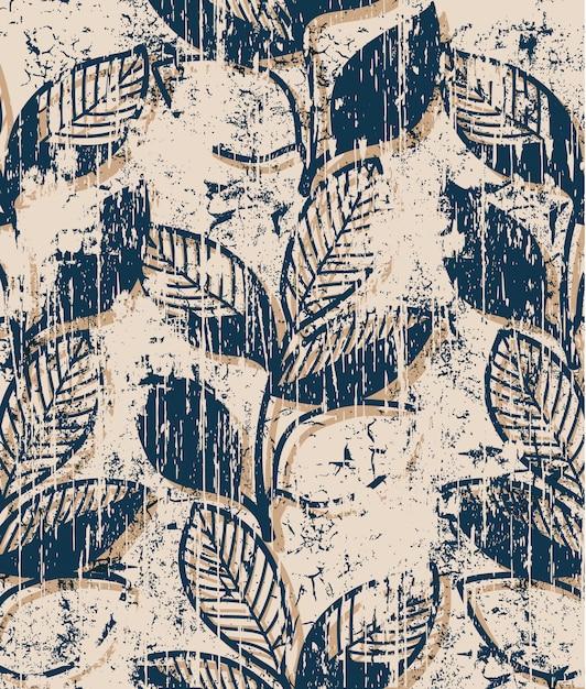 Takjes met bladeren vintage patroon. grunge stijl Gratis Vector